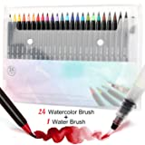 Tobeape 24 Watercolor Brush Pens, Water Color Painting Markers with Flexible Nylon Brush Tips for Adult kids Coloring Books,