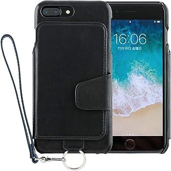 <iPhone8 Plus iPhone7 Plus/新型> RAKUNI (ラクニ) 本革 背面フリップケース/財布いらず/便利な前面むきだし/ストラップ付き/スタンド機能 (ピュアブラック)