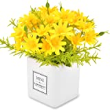 AIFUSI Artificial Flowers Daisy Flower Yellow Artificial Gerber Daisy Fake Plant for Home,Office,Wedding Decoration