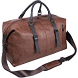 Oversized Leather Travel Duffel Bag, Weekender Overnight Bag Waterproof Leather Large Carry On Bag Travel Tote Duffel Bag for