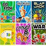 Regal Games Classic Card Games (Old Maid - Go Fish - Slapjack - Crazy 8s - War - Monster Memory Match)