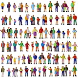 P100W 100pcs 1:87 Painted Figures HO Scale Standing People Assorted Poses Model Trains