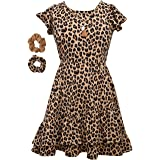 Bonnie Jean Girl's Animal Print Dress with Scrunchies for Girls 4-6x and 7-16