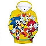 Cheerful D Sonic-Hedgehog Unisex Hoodie 3D Printed Hooded Pullover Sweatshirt for Men Women Boys Girls