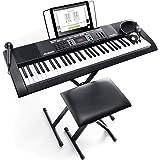 【Amazon限定ブランド】888M Alesis 電子キーボード 61鍵盤 初心者セット【ヘッドホン、マイク、スタンド、ベンチ、ACアダプター付き】自宅からオンラインレッスンが受講可能 Melody61 MKII