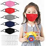 5 Pack Kids Reusable, Washable Facial Cotton Covering for Children- Includes 10Pcs Filters
