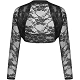 Rimi Hanger Womens Long Sleeve Cropped Lace Shrug Top Ladies Bolero Plus Size Cardigan Top Small/3X Large