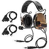 TAC-SKY COMTA IIIデュアルプラグヘッドセット、ノイズ除去、音ピックアップ機能、耳保護用具 にはシリコンイヤーマフとマイクロフォンを采用し、アウトドアエアスポーツに適する (コヨーテブラウン)