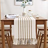 Hand Woven Table Runner,13 x 72 Cotton Farmhouse Style Table Runners with Tassels Best Gift Decor Wedding Parties Rustic Brid