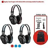 SIMOLIO 3 Pack of Wireless Car Headphones, IR Headphones for Kids in Car Wireless Entertainment, Foldable Wireless DVD Headph
