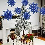 Martine Mall Snowflake Pendant Christmas Tree Decoration Hanging Hexagonal Embellishments with String (Royal Blue)
