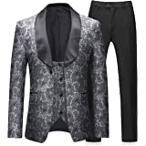 Boyland Mens 3 Pieces Tuxedos Vintage Groomsmen Wedding Suit Complete Outfits(Jackets+Vest+Trousers) Prom Formal Tuxedo Suits