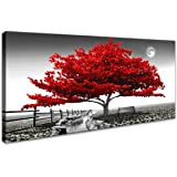 Wall Art for Living Room Red Tree Landscape Canvas Wall Decor 1 Pieces Modern Landscape Canvas Print Artwork Contemporary Nat