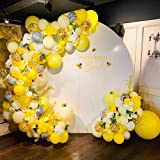 Bee Balloons Garland & Arch Kit, 122pcs Honeybee Theme Party Decorations Supplies, White Yellow Agate and Confetti Latex Ball