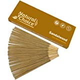 Natural Choice Incense Sandalwood Incense Sticks 100 Grams, Low Smoke Traditional Incense Sticks Made from Scratch, Never Dip