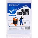 TopGreen 3 Pack 9x12 Feet Clear Plastic Drop Cloth Plastic Covers for Furniture Paint Home Repair Tools Multi-Purpose