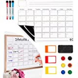 Magnetic Dry Erase Calendar and Weekly Planner. Whiteboard Calendar with 3 Magnetic Erasable Markers, 1 Duster Eraser & 3 Sma