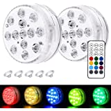 Goblinaduo Submersible LED Lights, Under Water Lights with Remote Control, Suction Cup Pond Lights for Pool, Bathtub, Party,