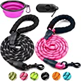 COOYOO 2 Pack Dog Leash 5 FT Heavy Duty - Comfortable Padded Handle - Reflective Dog Leash for Medium Large Dogs with Collaps