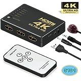 HDMI切替器 分配器、Vilcome 5入力1出力 HDMI セレクター4Kx2K対応 3D映像・フルHD対応自動切り替えUSB給電ケーブル付 リモコン付き HDTV Blu-Ray DVD DVR Xbox PS3 PS4 AppleTVなど対応