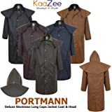 KAAZEE Womens 5Colors Long Cape Deluxe Portman Stockman Wax Cotton Jacket Coat