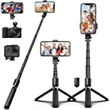 SYOSIN Bluetooth Selfie Stick Tripod, Extendable Aluminum Alloy Compact Phone Tripod with Remote 360° Rotation Selfie Stick f