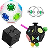4 Pieces Fidget Toy Set Handheld Mini Fidget Toy Stress Reducer Anxiety Relieve Handheld Toy Include 12-Side Fidget Toy, Blac