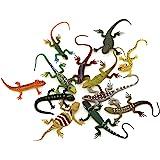 Kvvdi 12pcs 5 Inch Colorful  Plastic Lizard Toys Action Figure for Kids Reptile Party Supplies Toy Lizards Realistic Favors