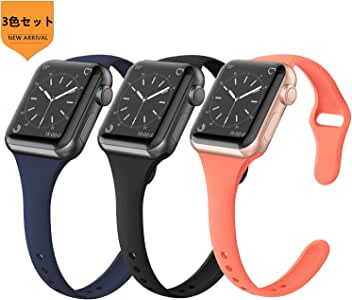 FRESHCLOUD コンパチブル Apple Watch バンド 38mm 40mm アップルウォッチ バンドスポーツバンド 交換ベルト 柔らかいシリコン素材 apple watch series 5 4 3 2 1対応 耐衝撃 防汗 (3色セット ダークブルー+ブラック+オレンジ)