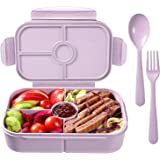 Bento Boxes Lunch Containers with 4 Compartments Bento Lunch Box Microwave/Freezer/Dishwasher Safe (Flatware Included,Light P