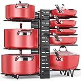 Pan Organizer Rack for Cabinet Adjustable, Cabinet Pot Rack Organizer with 3 DIY Methods, 8 Metal Shelves with Anti-Slip Laye