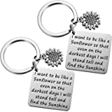 MIXJOY 2pc Sunflowers Charm Keychain I Want to be Like a Sunflower Floral Key Chain Inspirational Cute Sunflower Stuff for Wo