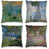 HOSTECCO Claude Monet Pillow Cases Set of 4 Impressionist Throw Pillow Covers Art Design Square Decorative Cushion Covers for