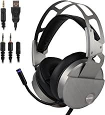 ゲーミングヘッドセット ヘッドフォン ヘッドオン PS4/xbox互換 PCパソコン対応 高音質マイク 有線usb 臨場感高い 軽量 男女兼用 ヘッドアーム伸縮可能 headphone 銀色