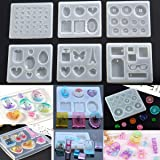 6 Pieces Silicone Pendant Jewelry Earring Making Mold Crystal Resin Epoxy Casting Mould Craft Molds DIY Tool