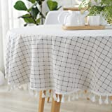 ColorBird Checkered Tassel Tablecloth Cotton Linen Dust-Proof Table Cover for Kitchen Dinning Tabletop Decoration (Round, 60