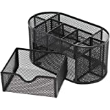 ThreeH Office Desk Organizer Mesh Pen Holder 9 Compartments Drawer Desk Supplies Organizer Black