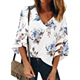 AlvaQ Women V Neck Floral Print Bell Sleeve Shirt Casual Loose Tops Blouse