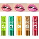 Aloe Vera Lipstick,5 pcs natural fruit Lipstick,Moisturizer Temperature Color Change Lip Gloss Long Lasting Nutritious Lip Ba