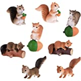 TangTanger 8 pcs Cute Squirrel Animal Characters Toys Figurines Playset, Home Garden Cake Decoration, Cake Topper