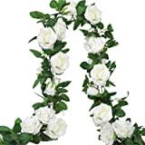 AGEOMET 3PCS Artificial Rose Vine Fake Rose Vines Silk Flower Garland Hanging Rose Ivy Home Outdoor Wedding Arch Garden Wall
