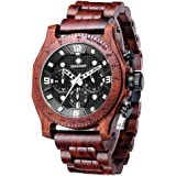 Men's Wood Watches Hand-Made Wrist Watch Quartz Wristwatch Waterproof Multifunction Date Watch