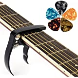 kmise Guitar Capo Guitar Accessories Trigger Capo with 5 Free Guitar Picks for Acoustic and Electric Guitars - Also Quick Cha
