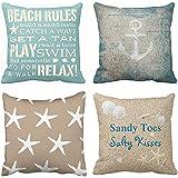 Emvency Throw Pillow Cover Decorative Pillow Case Home Decor Square Parent Pillowcase, Polyester & Polyester Blend, Beach, 18