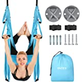(Blue) - INTEY Aerial Yoga Flying Yoga Swing Yoga Hammock Trapeze Sling Inversion Tool for Gym Home Fitness (with Ceiling Anc