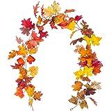 Korlon Fall Maple Leaf Garland, 5.9 Ft Thanksgiving Artificial Silk Mantel Garland Hanging Vines for Autumn Indoor & Outdoor