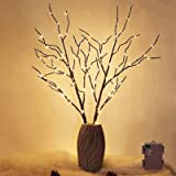 Twinkle Star 100 LED Lighted Brown Willow Branches 2 Pack Artificial Branches Waterproof Battery Operated with Timer for Indo
