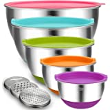 Mixing Bowls with Airtight Lids, Blingco Stainless Steel Metal Nesting Bowls Set of 5, Size 5, 3, 2, 1.5, 0.63 QT,3 Grater At