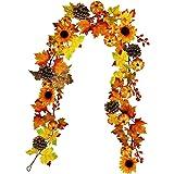 Winlyn Fake Fall Maple Leaf Garland Hanging Vine- 6 Feet - Artificial Berries Sunflower Pumpkin Autumn Decoration for Wedding