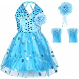 FEESHOW Girls' Halter-Neck Shiny Sequins Ballet Dance Tutu Dress Costumes